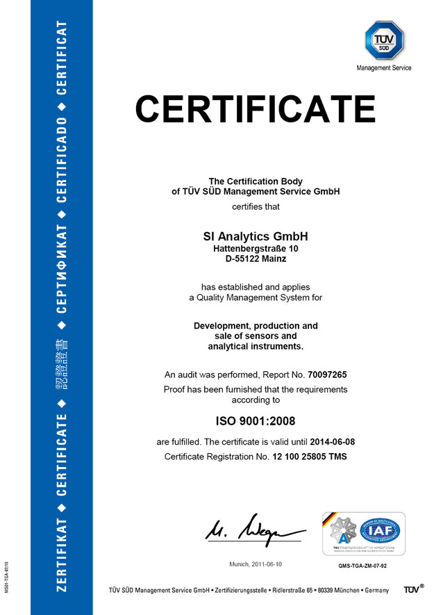 Сертификат SI Analytics ISO 9001:2008